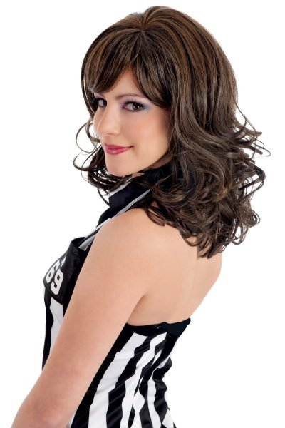 Risque Reaction wig with curls in brunette